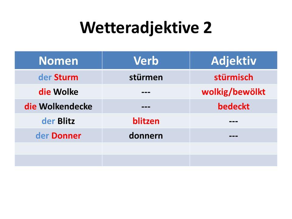 Wetteradjektive 2 Nomen Verb Adjektiv der Sturm stürmen stürmisch