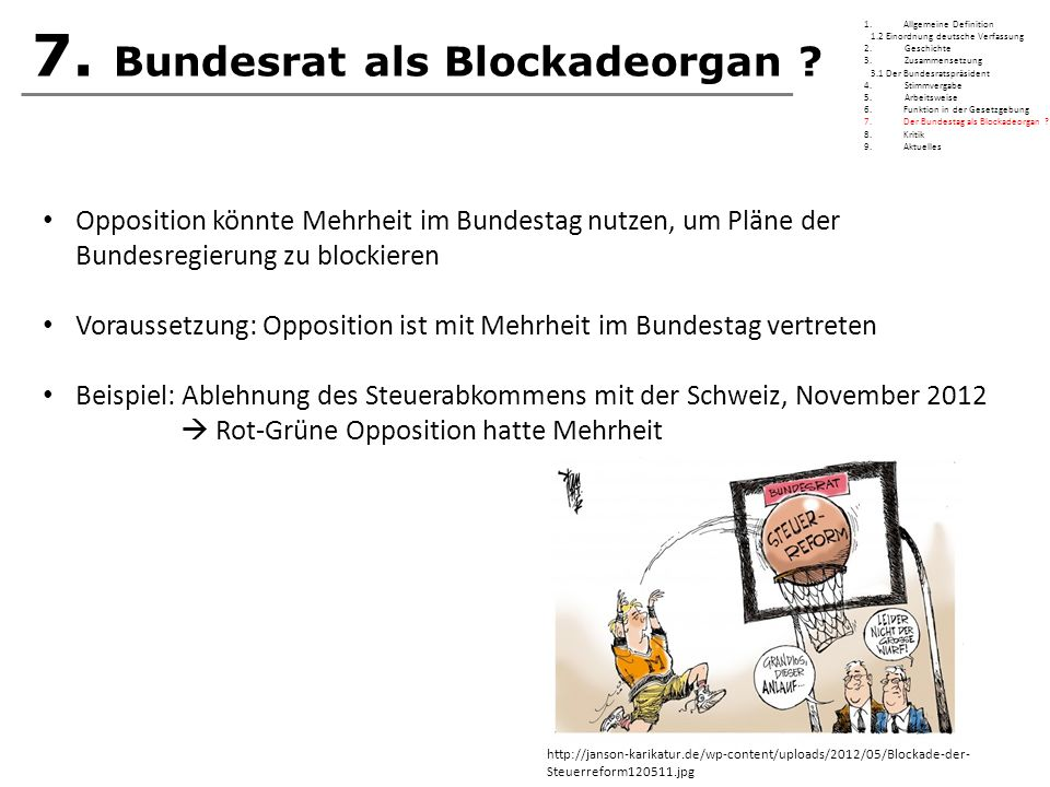 7. Bundesrat als Blockadeorgan