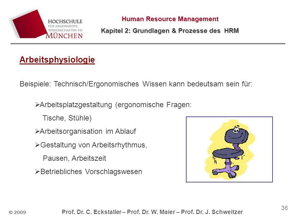 Arbeitsphysiologie Beispiele: Technisch/Ergonomisches Wissen kann bedeutsam sein für: