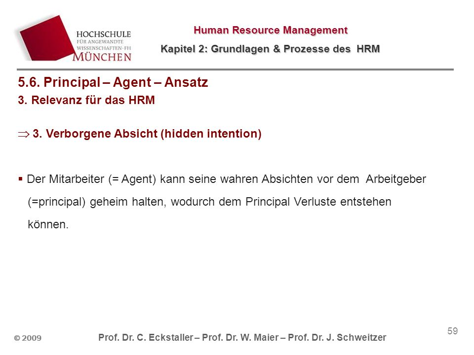 5.6. Principal – Agent – Ansatz