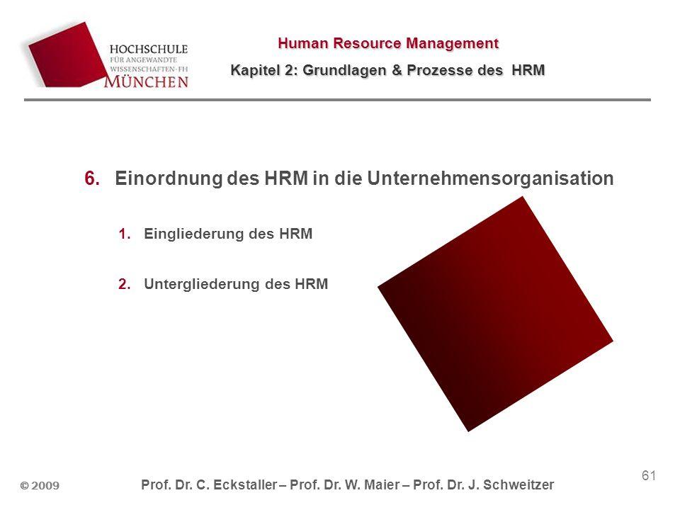 Einordnung des HRM in die Unternehmensorganisation