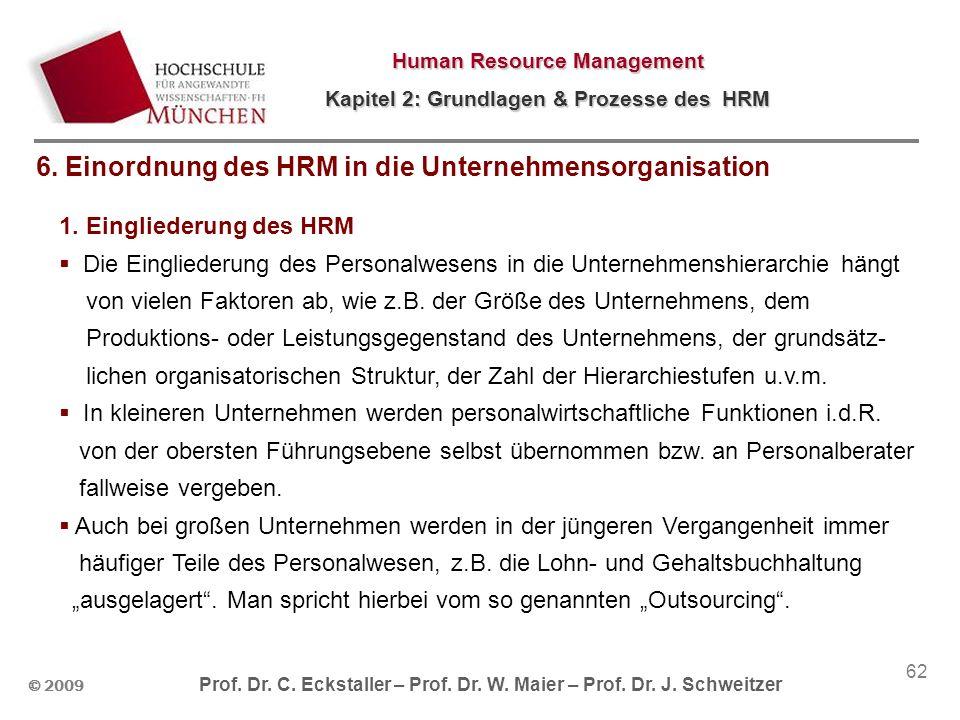 6. Einordnung des HRM in die Unternehmensorganisation