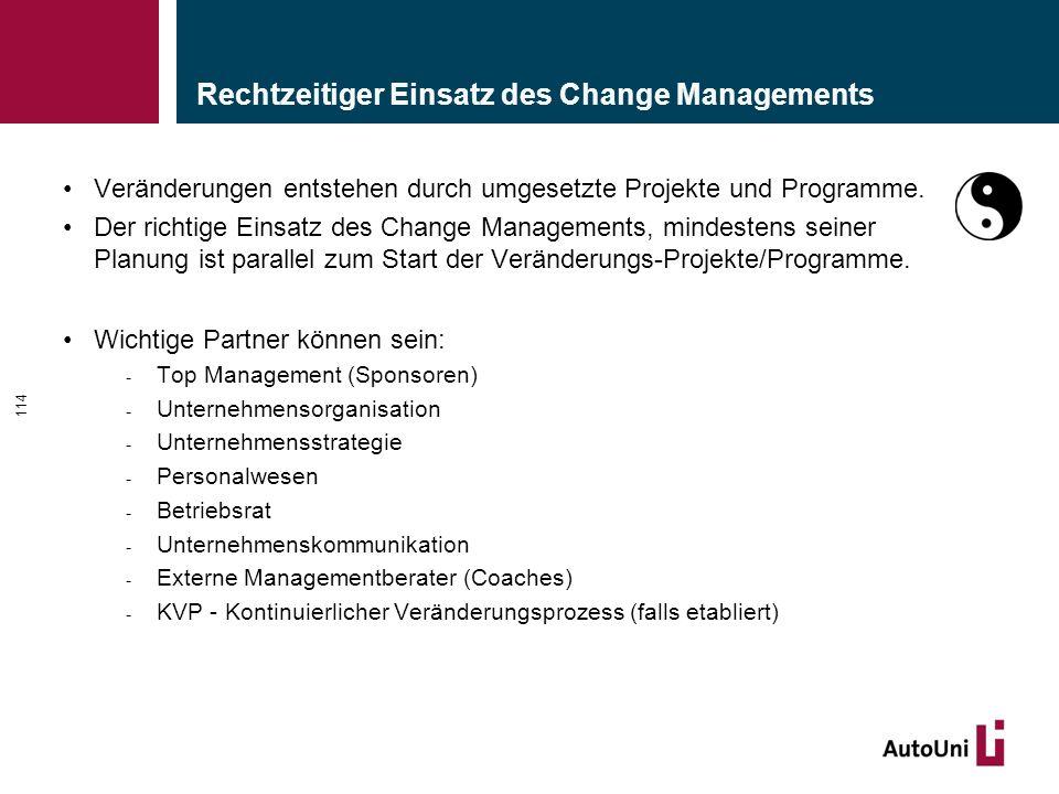 Rechtzeitiger Einsatz des Change Managements