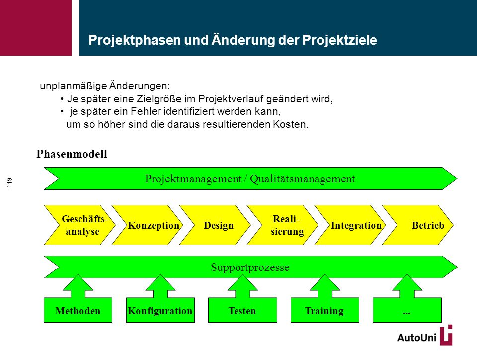 Projektphasen und Änderung der Projektziele