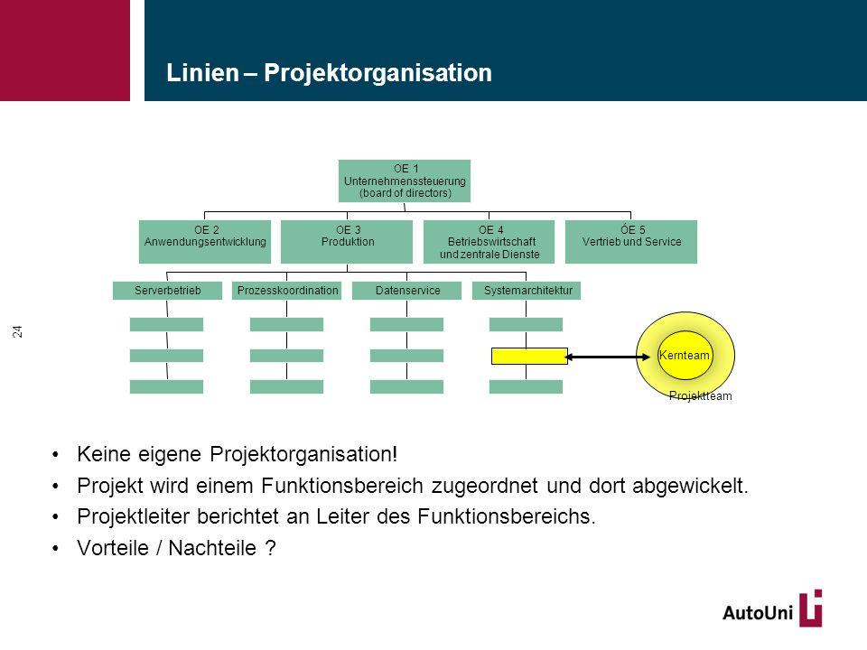 Linien – Projektorganisation