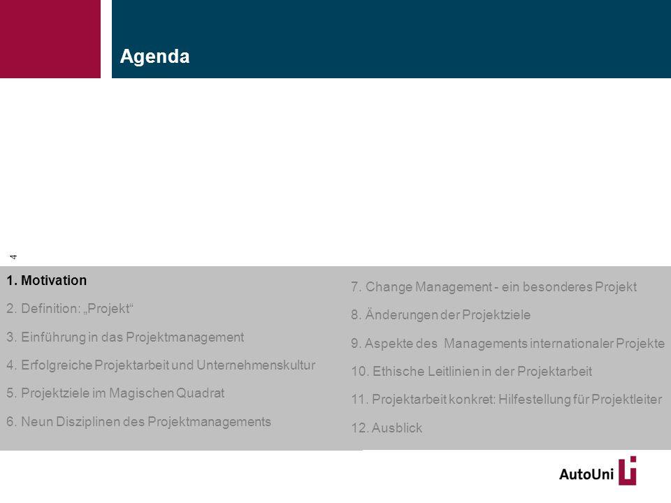 "Kapitel 1 Motivation Agenda 1. Motivation 2. Definition: ""Projekt"