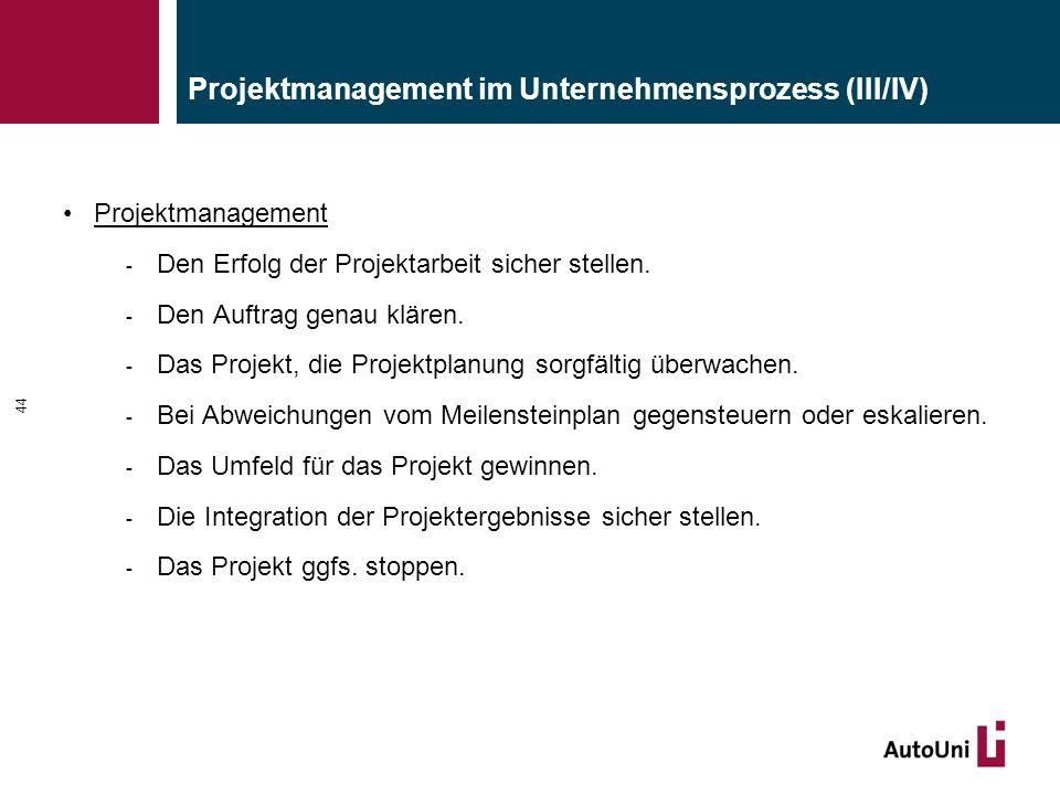 Projektmanagement im Unternehmensprozess (III/IV)