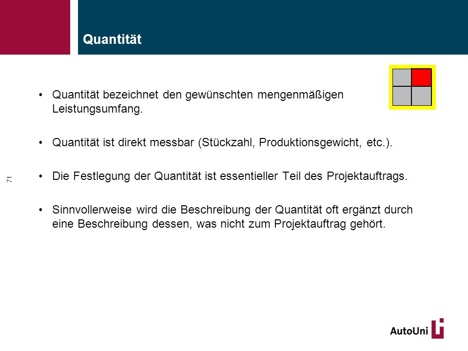 Quantität Quantität bezeichnet den gewünschten mengenmäßigen Leistungsumfang. Quantität ist direkt messbar (Stückzahl, Produktionsgewicht, etc.).
