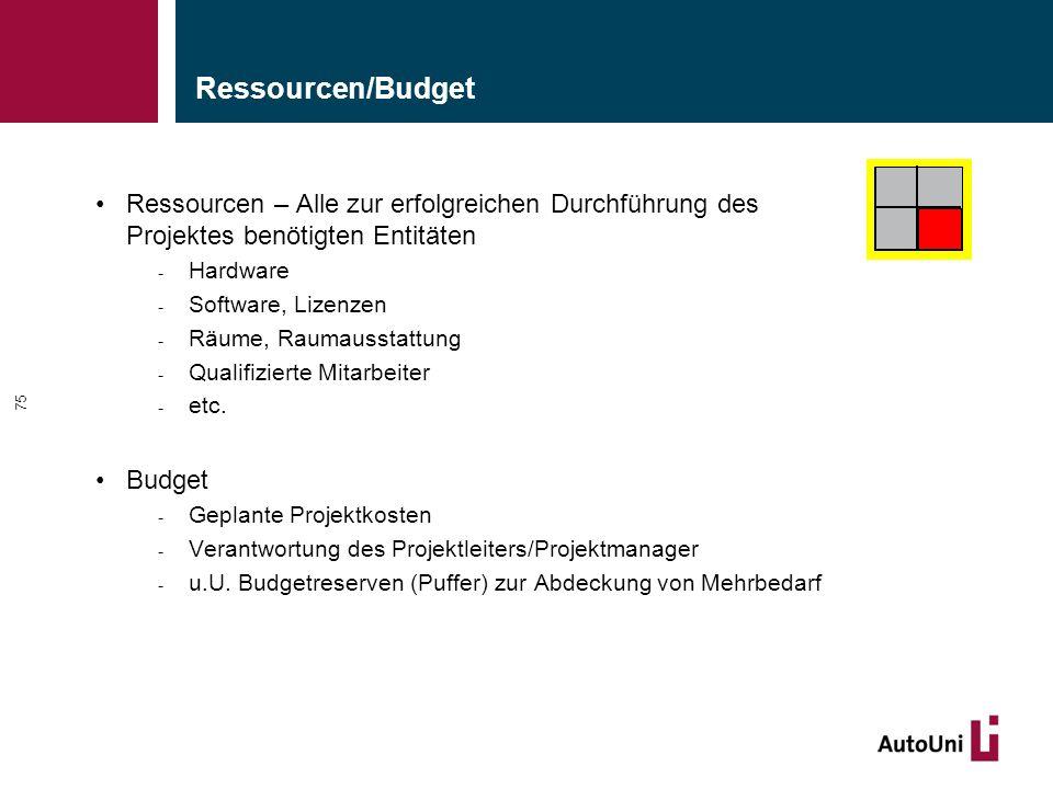 Ressourcen/Budget Ressourcen – Alle zur erfolgreichen Durchführung des Projektes benötigten Entitäten.
