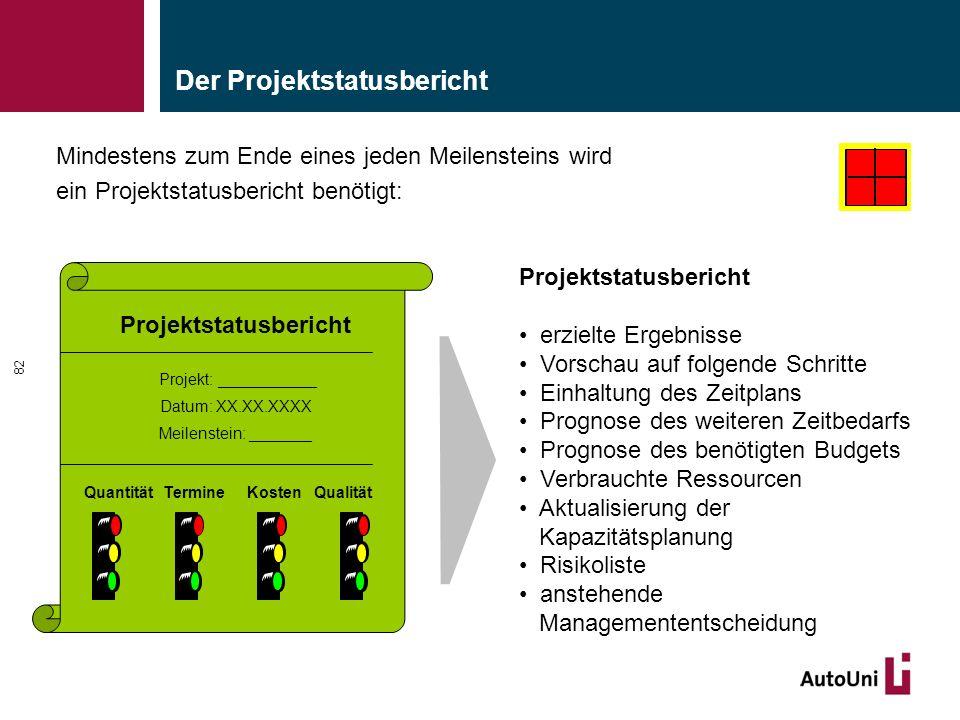 Der Projektstatusbericht