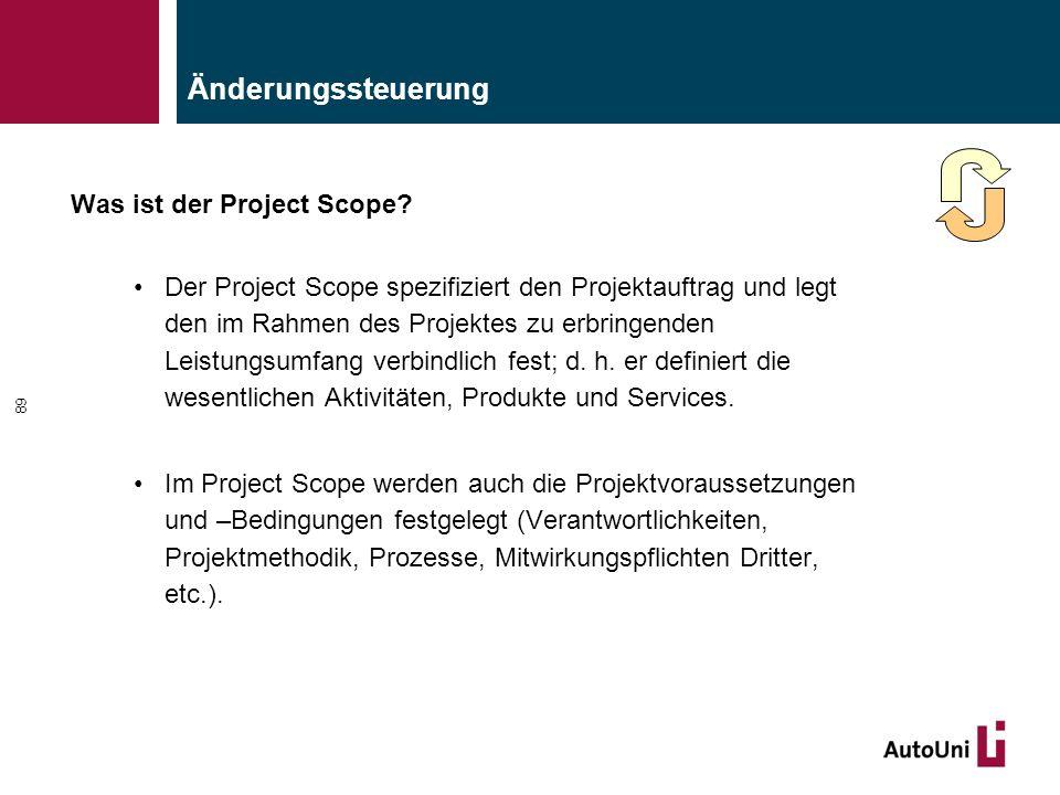 Änderungssteuerung Was ist der Project Scope
