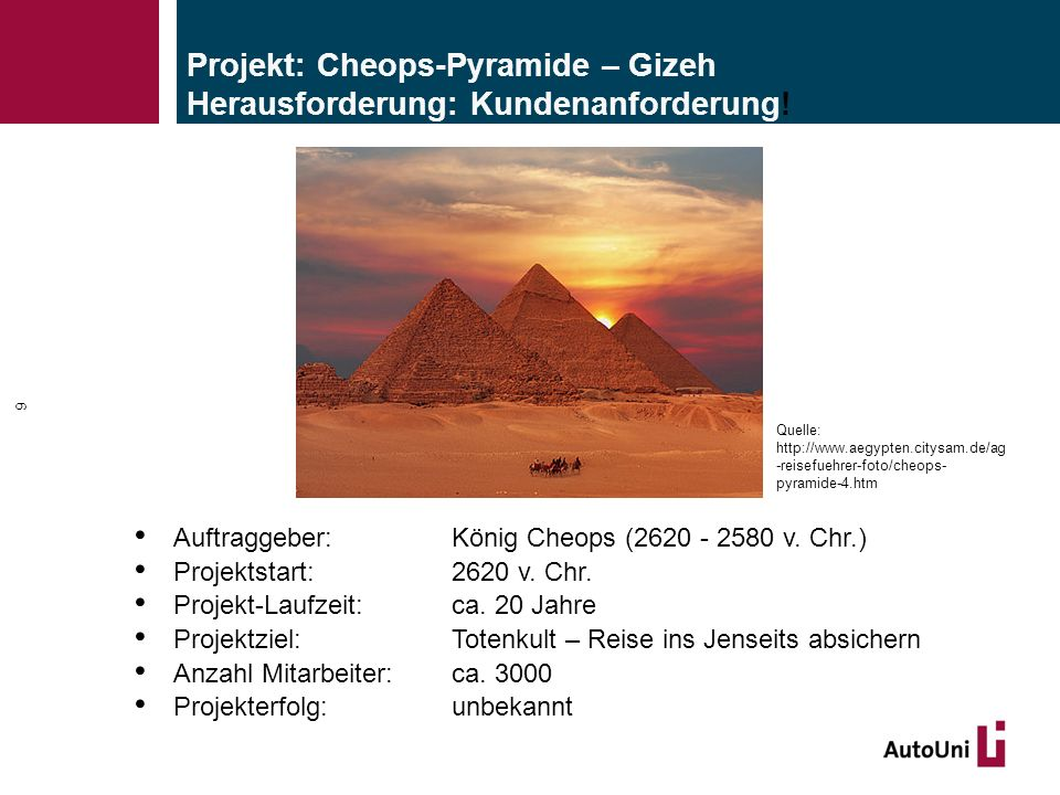 Projekt: Cheops-Pyramide – Gizeh Herausforderung: Kundenanforderung!