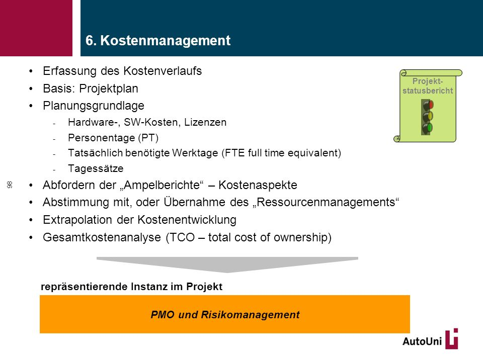 repräsentierende Instanz im Projekt PMO und Risikomanagement