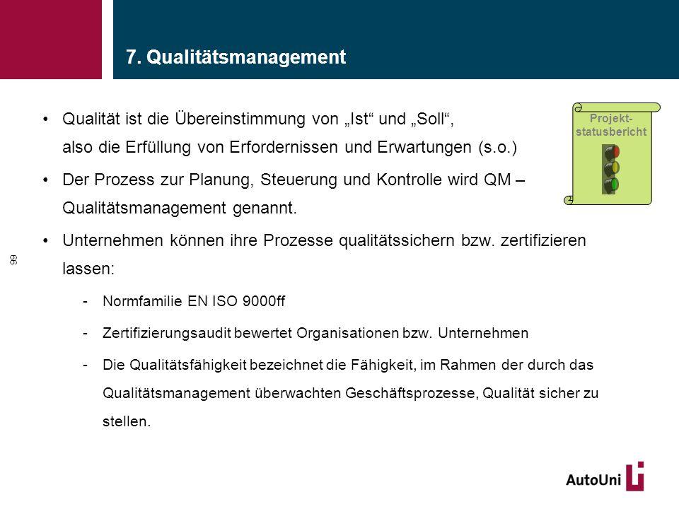 """7. Qualitätsmanagement Qualität ist die Übereinstimmung von """"Ist und """"Soll , also die Erfüllung von Erfordernissen und Erwartungen (s.o.)"""