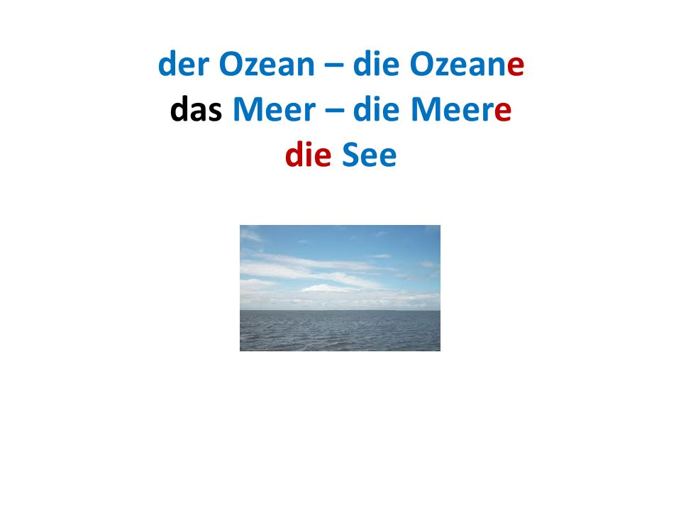 der Ozean – die Ozeane das Meer – die Meere die See