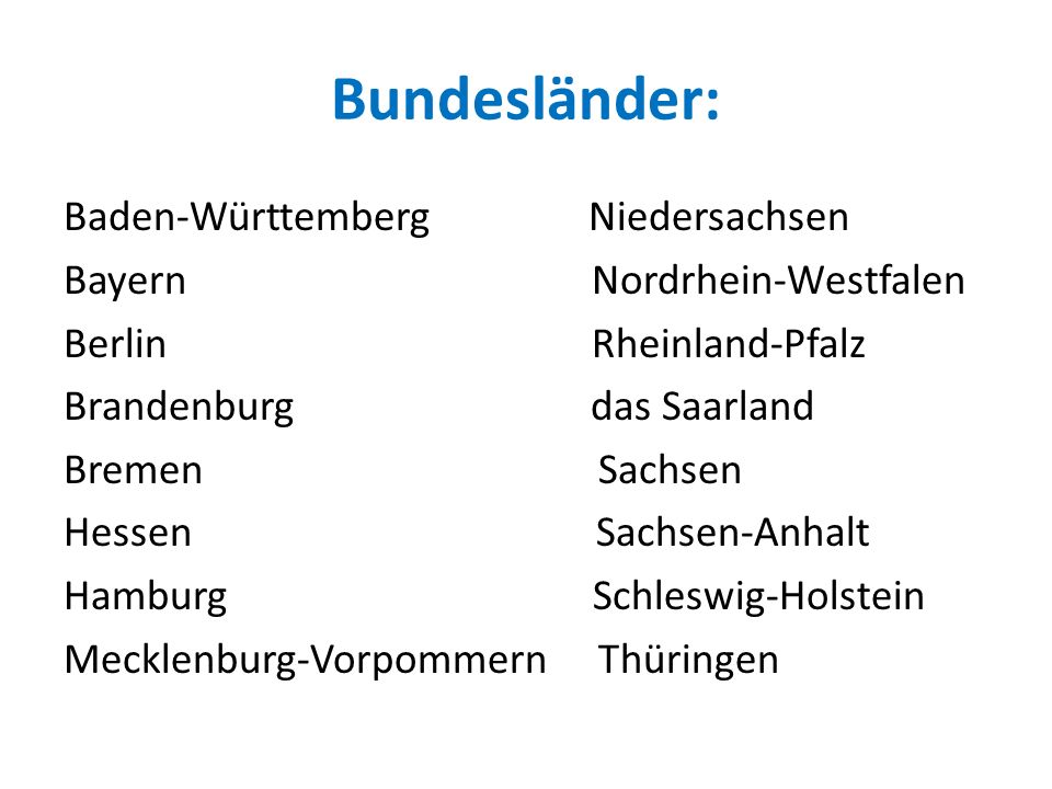 Bundesländer: