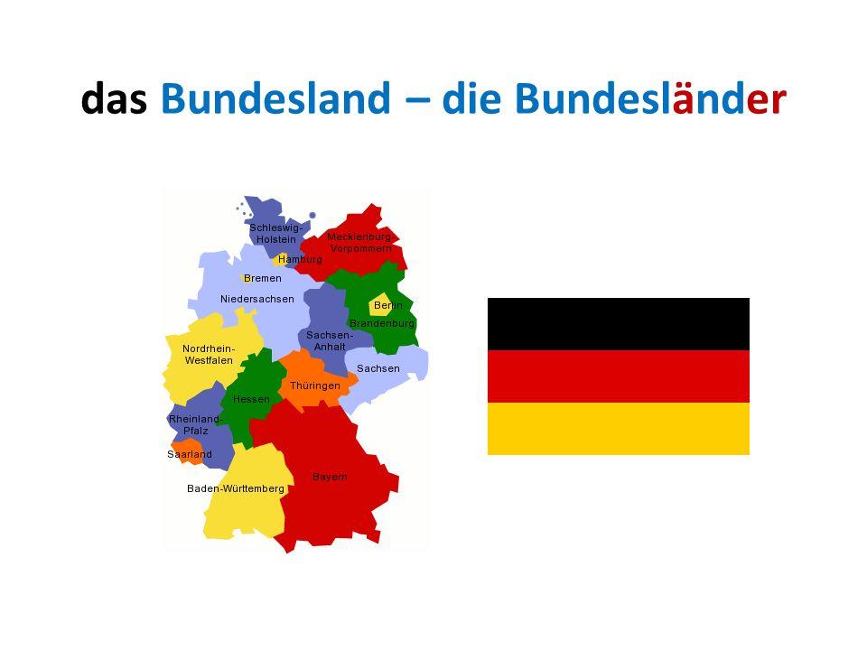 das Bundesland – die Bundesländer