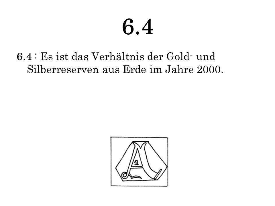 6.4 6.4 : Es ist das Verhältnis der Gold- und Silberreserven aus Erde im Jahre 2000.