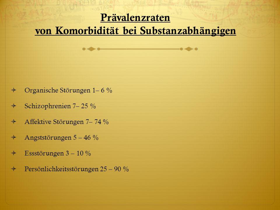 Prävalenzraten von Komorbidität bei Substanzabhängigen
