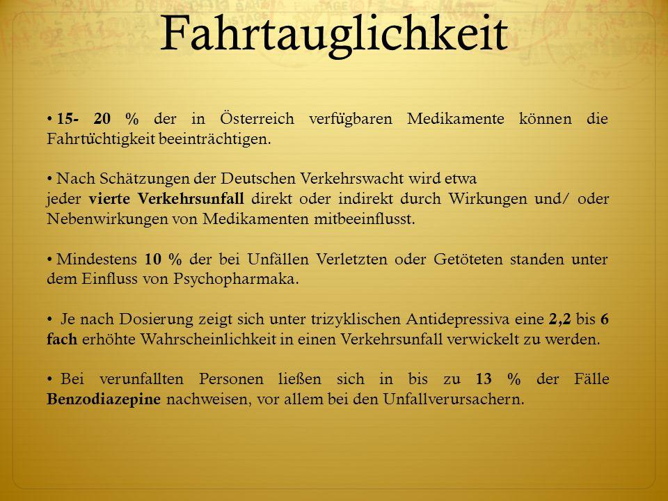 Fahrtauglichkeit 15- 20 % der in Österreich verfügbaren Medikamente können die Fahrtüchtigkeit beeinträchtigen.