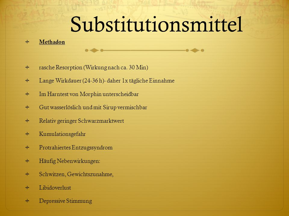 Substitutionsmittel Methadon