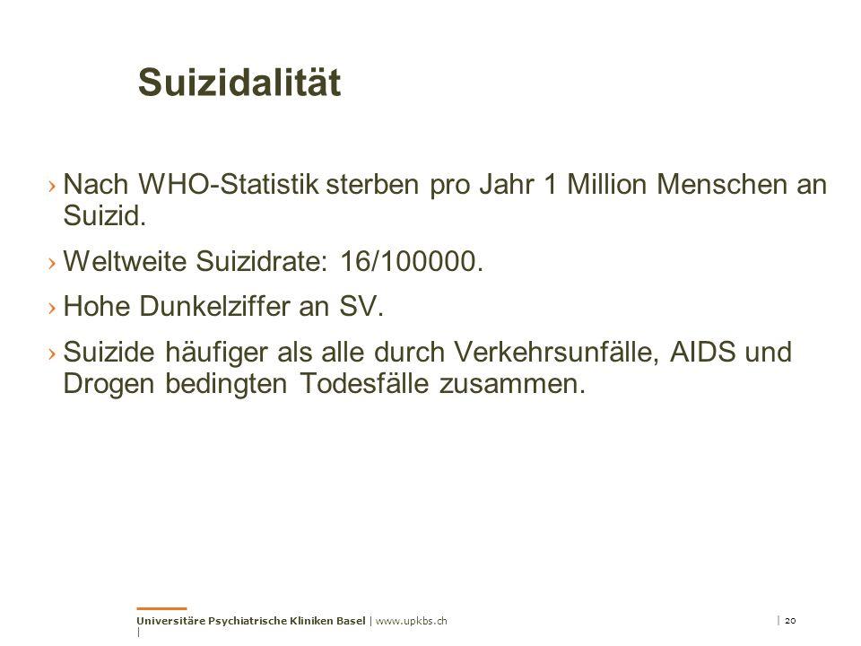 Suizidalität Nach WHO-Statistik sterben pro Jahr 1 Million Menschen an Suizid. Weltweite Suizidrate: 16/100000.