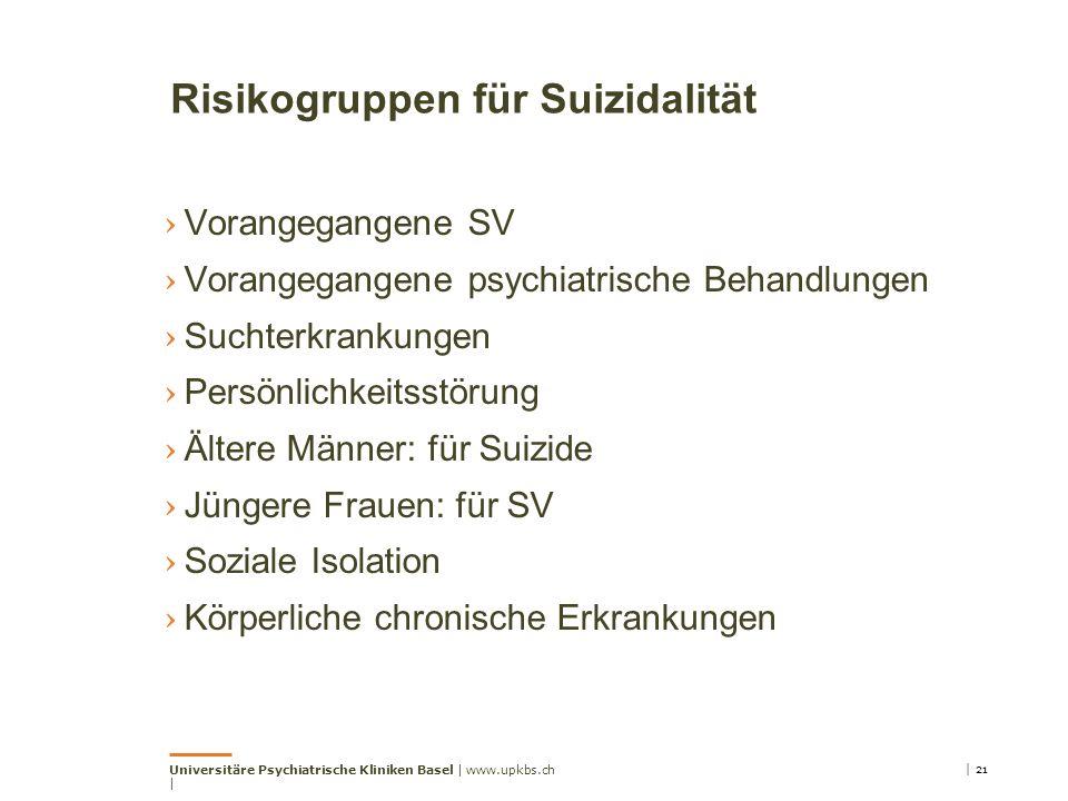 Risikogruppen für Suizidalität