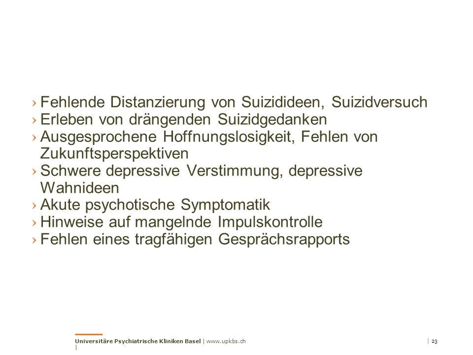 Fehlende Distanzierung von Suizidideen, Suizidversuch