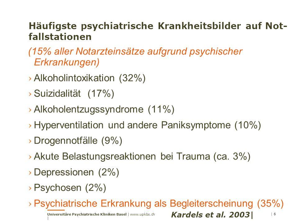 Häufigste psychiatrische Krankheitsbilder auf Not-fallstationen