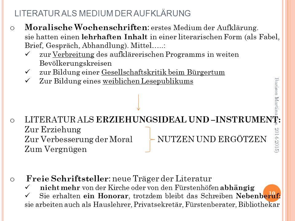 LITERATUR ALS MEDIUM DER AUFKLÄRUNG