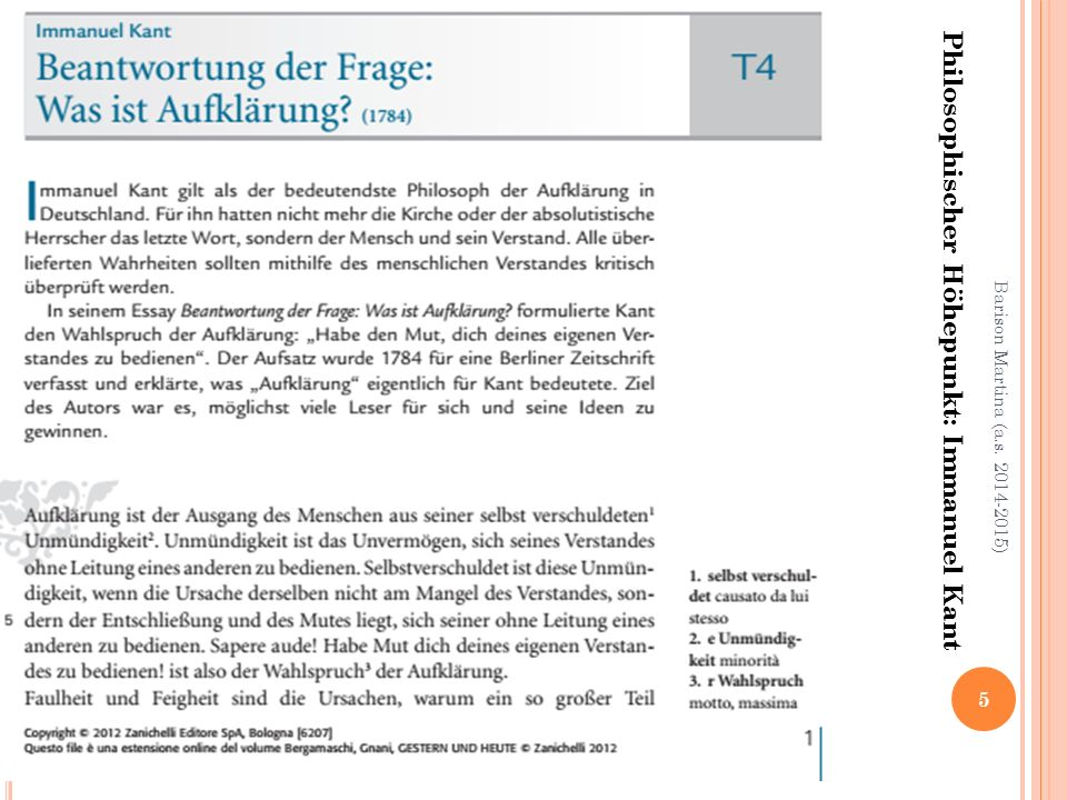 Philosophischer Höhepunkt: Immanuel Kant