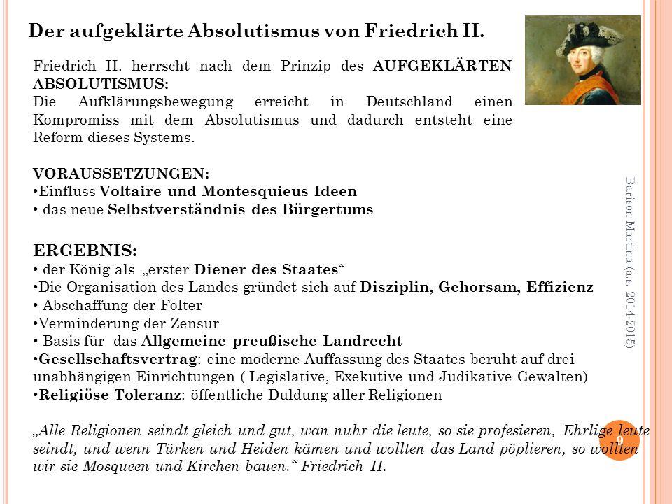 Der aufgeklärte Absolutismus von Friedrich II.
