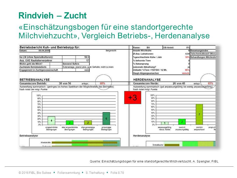 Rindvieh – Zucht «Einschätzungsbogen für eine standortgerechte Milchviehzucht», (Resultate von 99 Biobetrieben)
