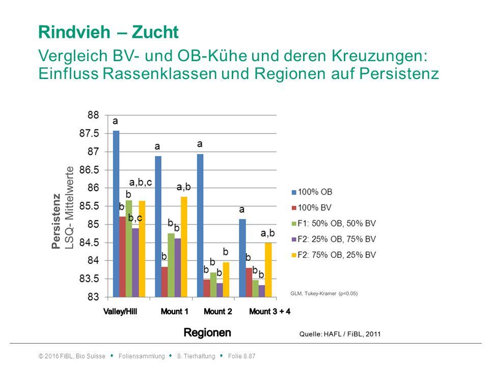 Rindvieh – Zucht Vergleich BV- und OB-Kühe und deren Kreuzungen: Einfluss Rassenklassen und Regionen auf Zellzahlen.
