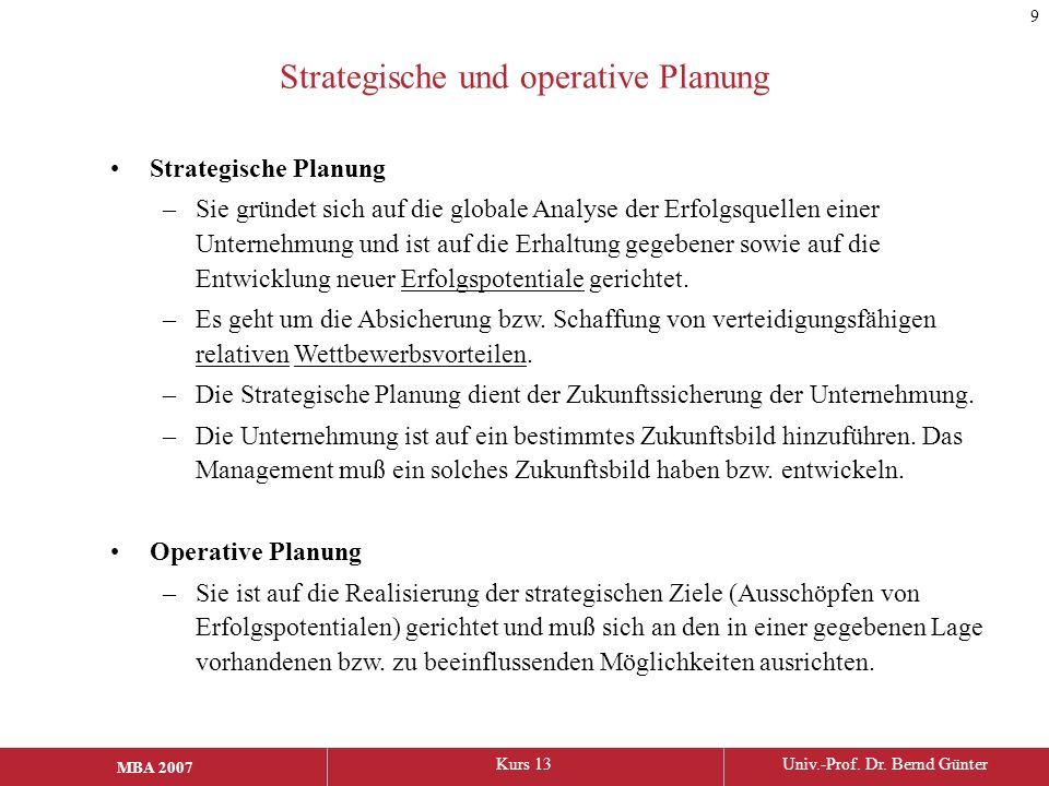 Strategische und operative Planung