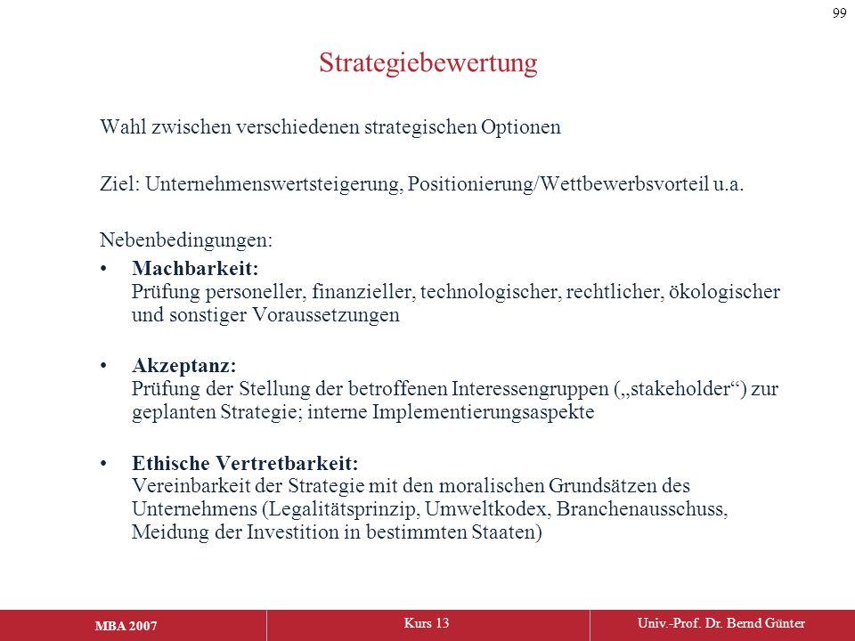 Strategiebewertung Wahl zwischen verschiedenen strategischen Optionen