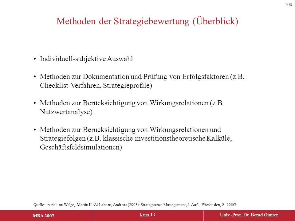 Methoden der Strategiebewertung (Überblick)