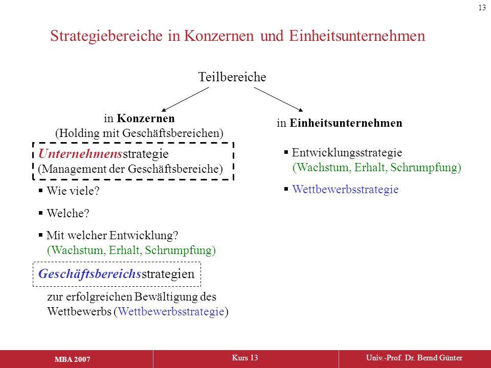 Strategiebereiche in Konzernen und Einheitsunternehmen
