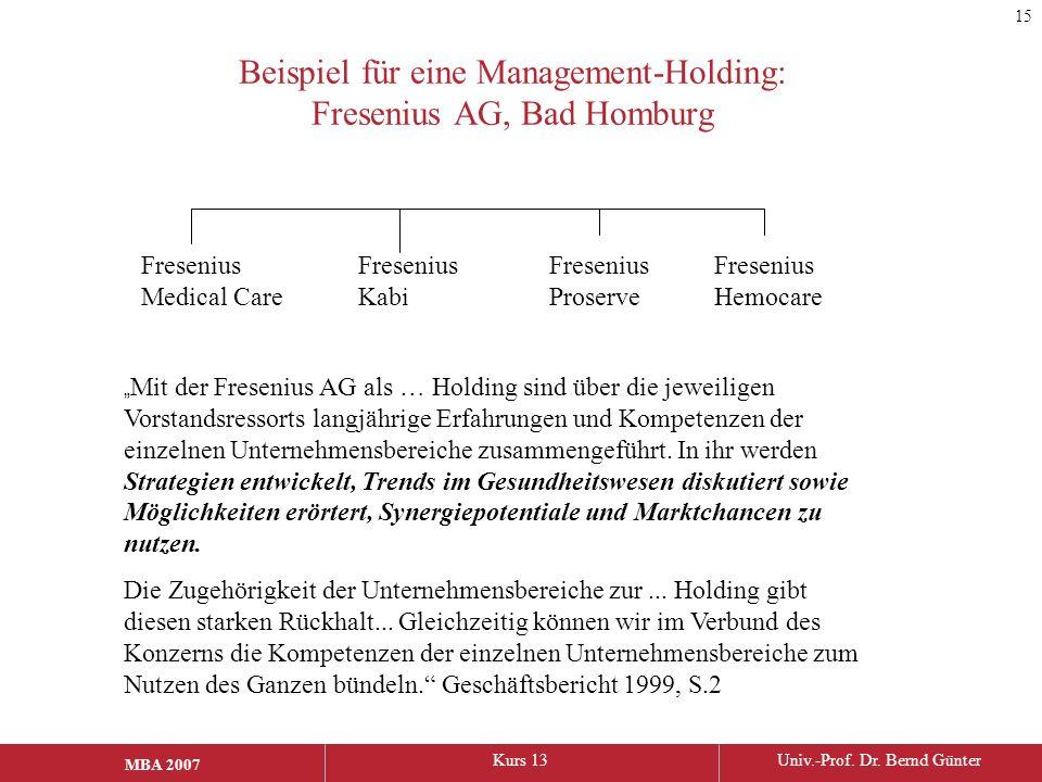 Beispiel für eine Management-Holding: Fresenius AG, Bad Homburg