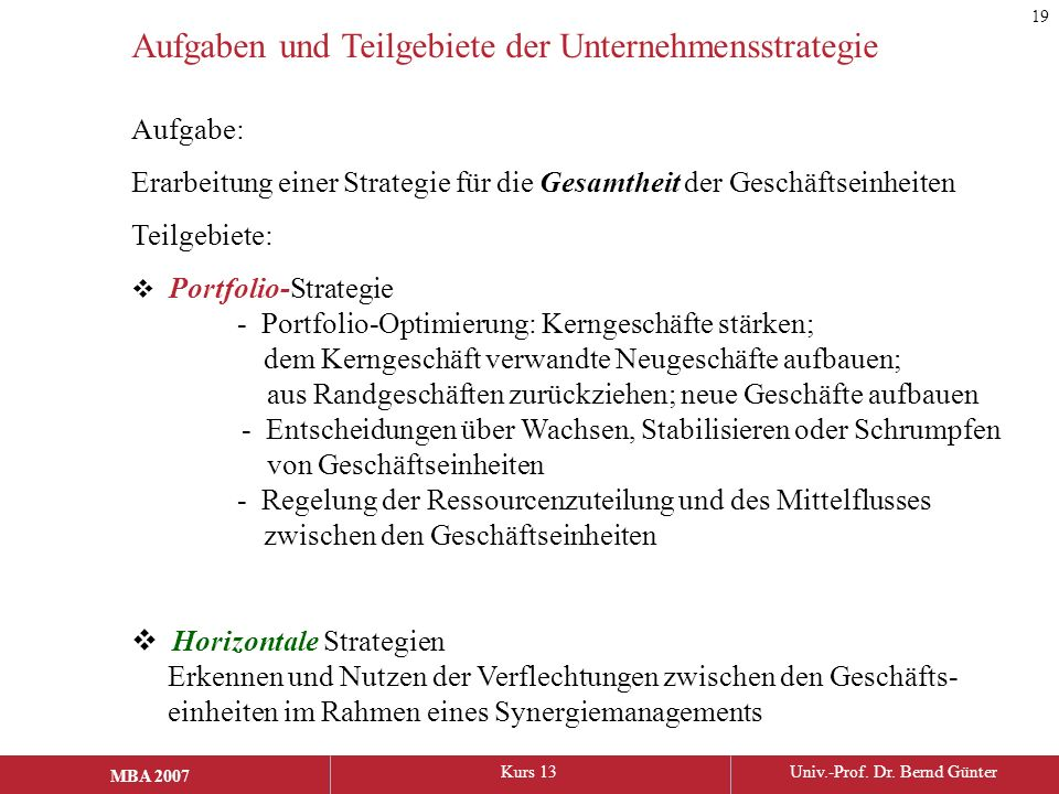 Aufgaben und Teilgebiete der Unternehmensstrategie