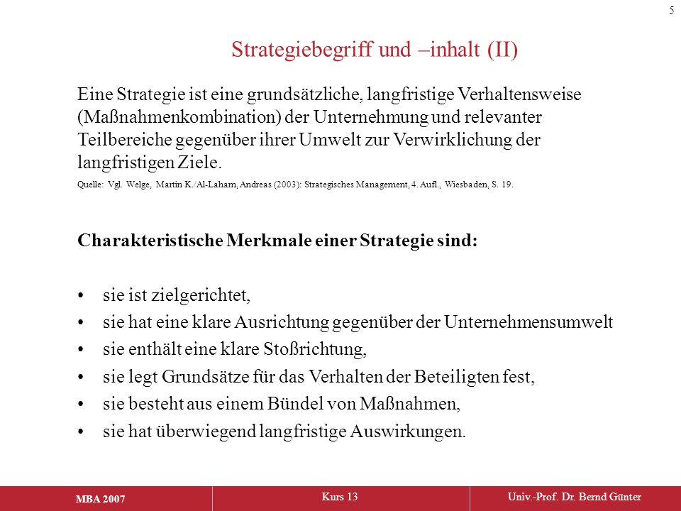 Strategiebegriff und –inhalt (II)