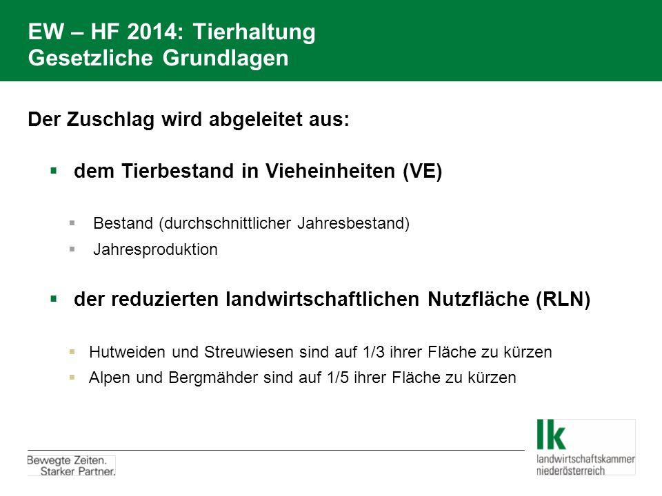 EW – HF 2014: Tierhaltung Gesetzliche Grundlagen