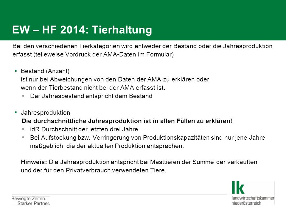 EW – HF 2014: Tierhaltung
