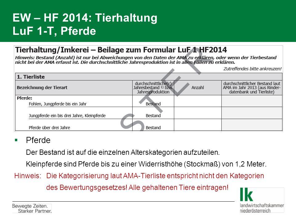 EW – HF 2014: Tierhaltung LuF 1-T, Pferde