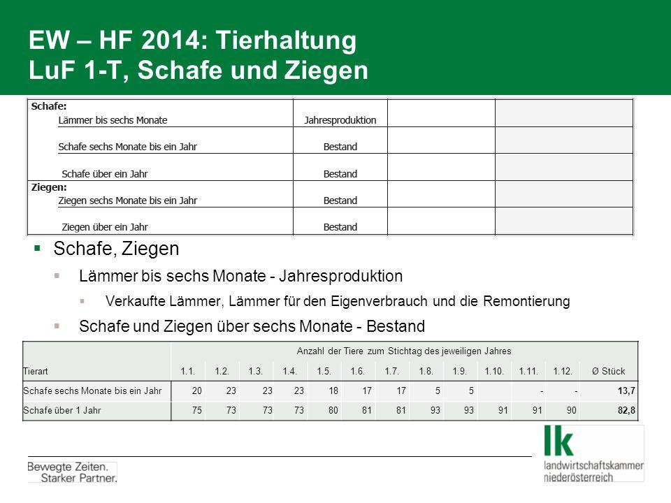EW – HF 2014: Tierhaltung LuF 1-T, Schafe und Ziegen