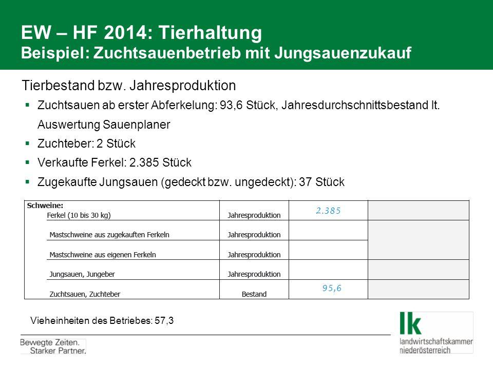 EW – HF 2014: Tierhaltung Beispiel: Zuchtsauenbetrieb mit Jungsauenzukauf