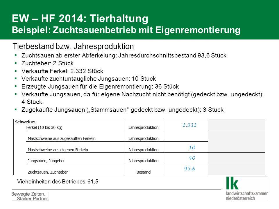 EW – HF 2014: Tierhaltung Beispiel: Zuchtsauenbetrieb mit Eigenremontierung