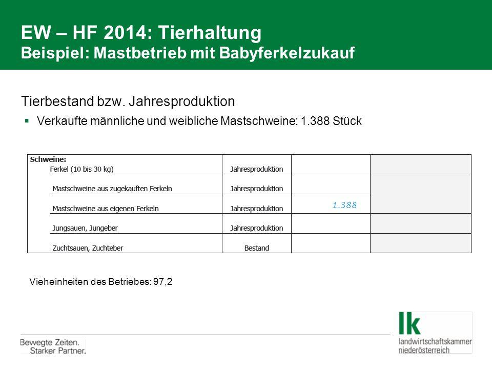 EW – HF 2014: Tierhaltung Beispiel: Mastbetrieb mit Babyferkelzukauf