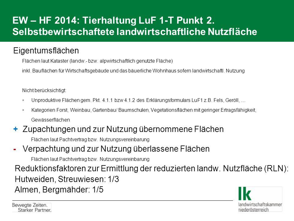 EW – HF 2014: Tierhaltung LuF 1-T Punkt 2