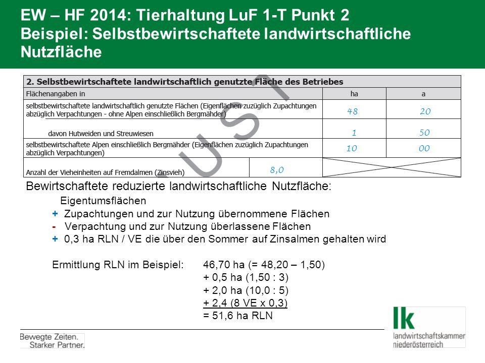 EW – HF 2014: Tierhaltung LuF 1-T Punkt 2 Beispiel: Selbstbewirtschaftete landwirtschaftliche Nutzfläche